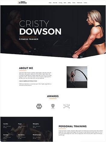 fitness trainer web design